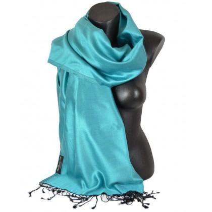 Etole en soie bleu ciel et noire
