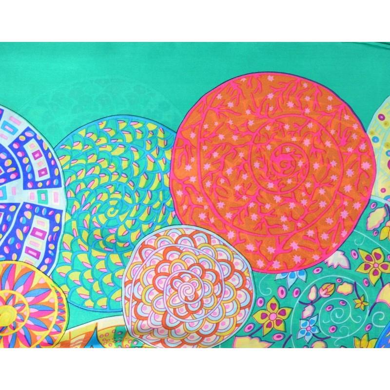 Grand carré en crêpe de Chine rosaces-vert