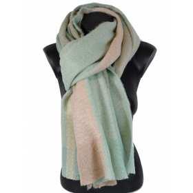 Grosse écharpe rayée rose-vert