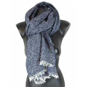 Grande écharpe bleu-métalisé