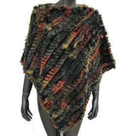 Poncho en lapin marron-orange
