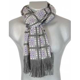 Echarpe en laine homme grise et violette