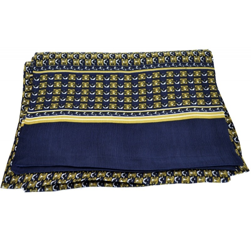 Foulard en soie homme bleu or chaines