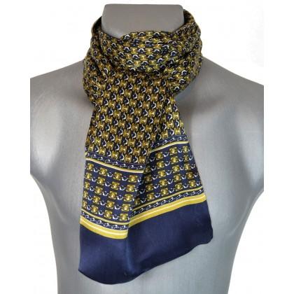 Foulard en soie homme bleu or chaines 6e2268e9b58