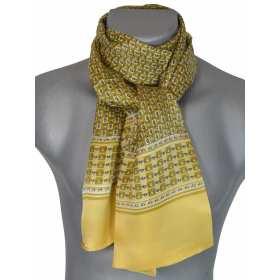 Foulard en soie homme jaune noir chaines