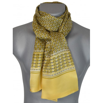 f2df8f6e53a Foulard en soie homme jaune noir chaines