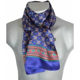 Foulard en soie homme étriers bleu