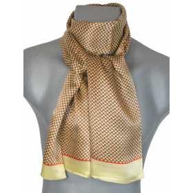 Foulard en soie homme jaune carrés