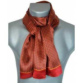 Foulard en soie homme rouge carrés