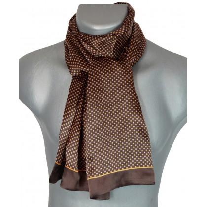Foulard en soie homme marron carrés
