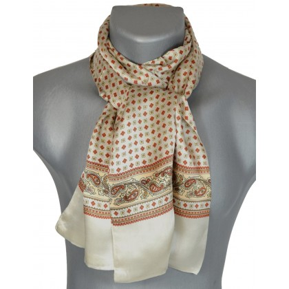 Foulard en soie beige et rose à frise