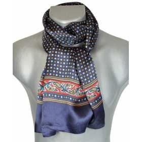 Foulard en soie bleu et rouge à frise