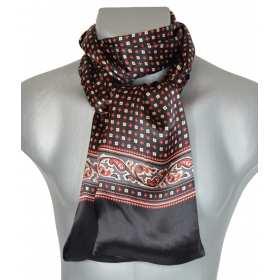 Foulard en soie noir et rouge à frise