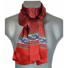 Foulard en soie rouge et bleu à frise