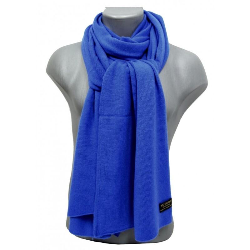 Echarpe en cachemire tricoté bleu-saphir