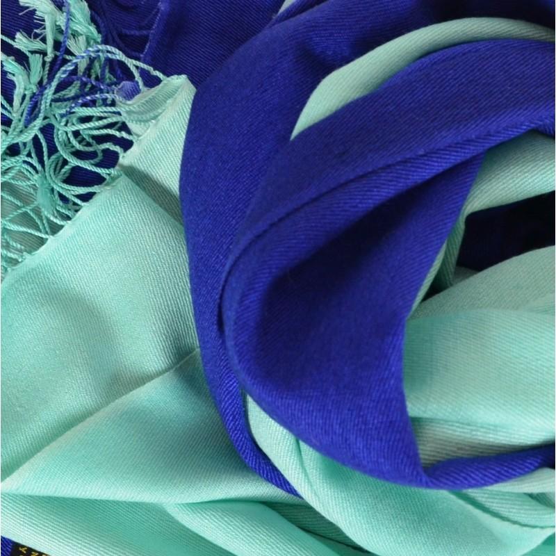 Pashmina soie cachemire turquoise et marine