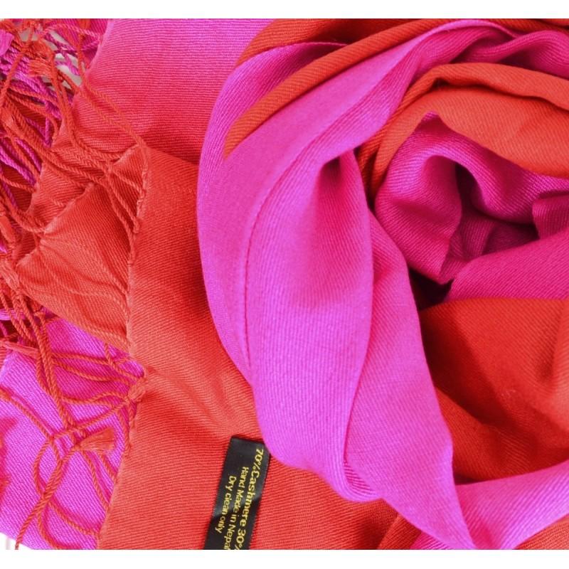 Pashmina soie cachemire rose et rouge