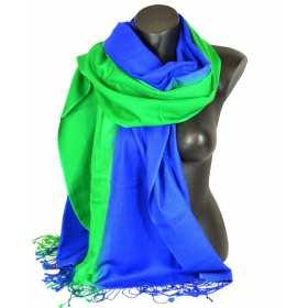 Pashmina soie cachemire bleu et vert