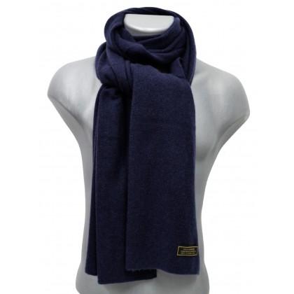 Echarpe en cachemire tricoté bleue
