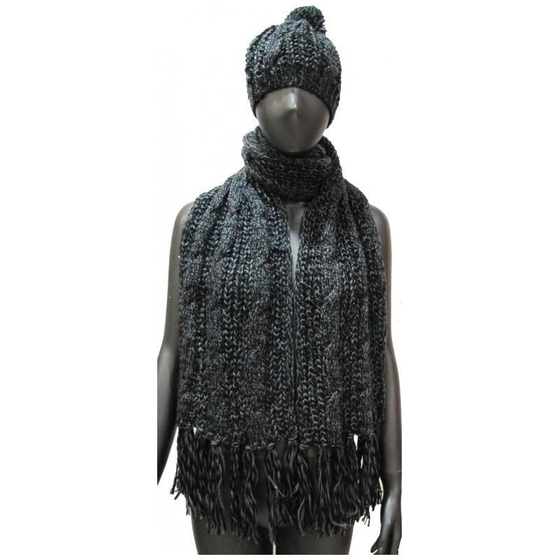 Grosse écharpe et bonnet noir chiné
