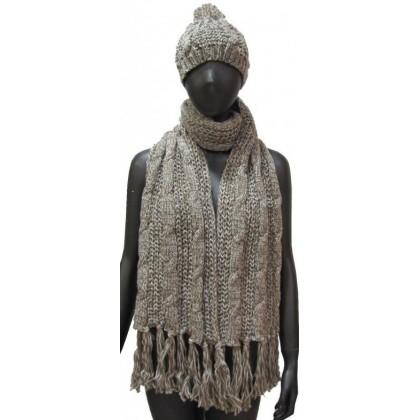 Grosse écharpe et bonnet beige chiné 7cf022b396d