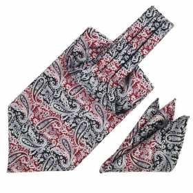 Foulard ascot et pochette paisley rouge noir