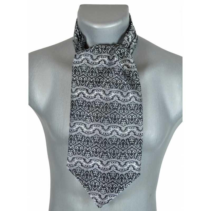 Foulard ascot paisley gris et noir