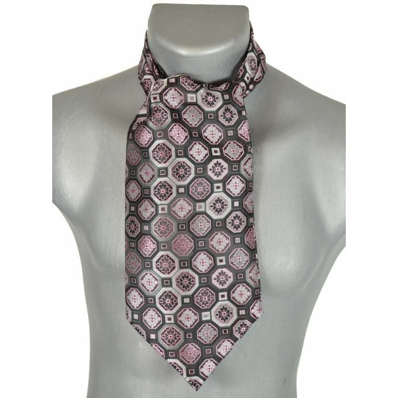 Foulard ascot gris rosaces