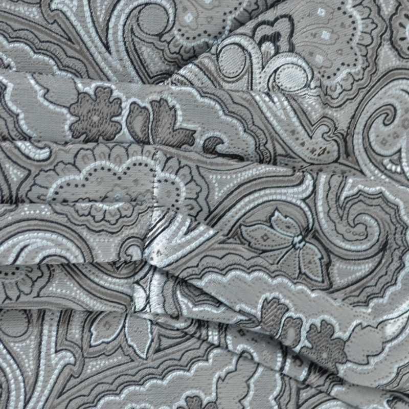 Foulard ascot paisley gris