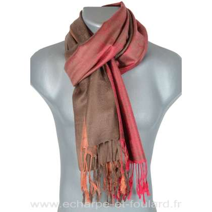 Pashmina laine rose et marron