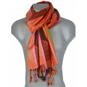 Pashmina multibandes verticales orange