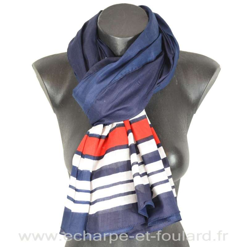 Cheche grandes rayures bleu-blanc-rouge