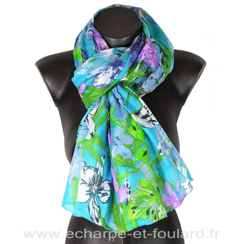Cheche coton fleurs fond turquoise