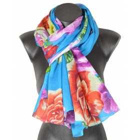 Cheche coton fleurs fond bleu