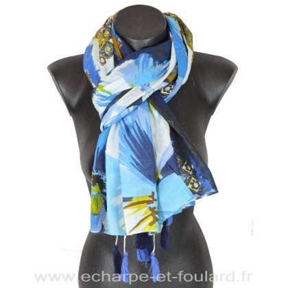 Cheche coton pompons fleurs bleu d'eau