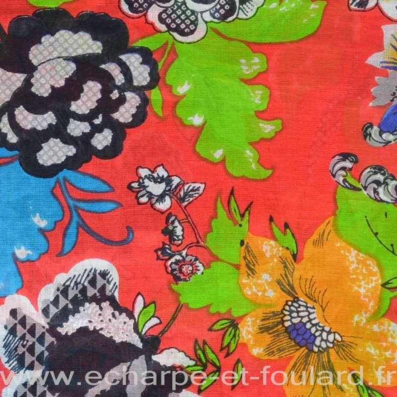 Cheche coton fleurs fond rouge