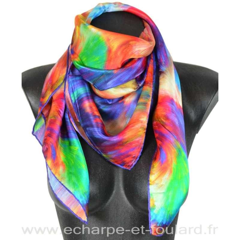 Carré soie impression digitale multicolore