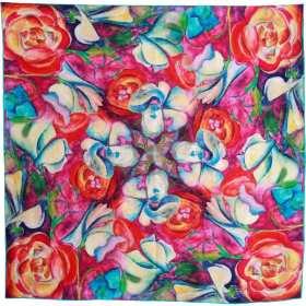 Carré soie impression digitale fleurs