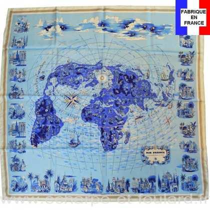 Foulard en soie Air France Mappemonde