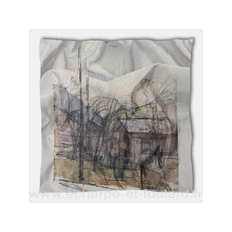 Foulard en soie Giacometti, Paysage aux maisons