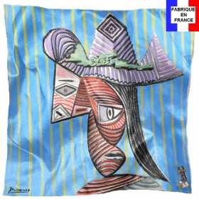 Foulard en soie Picasso, Buste de femme au chapeau rayé