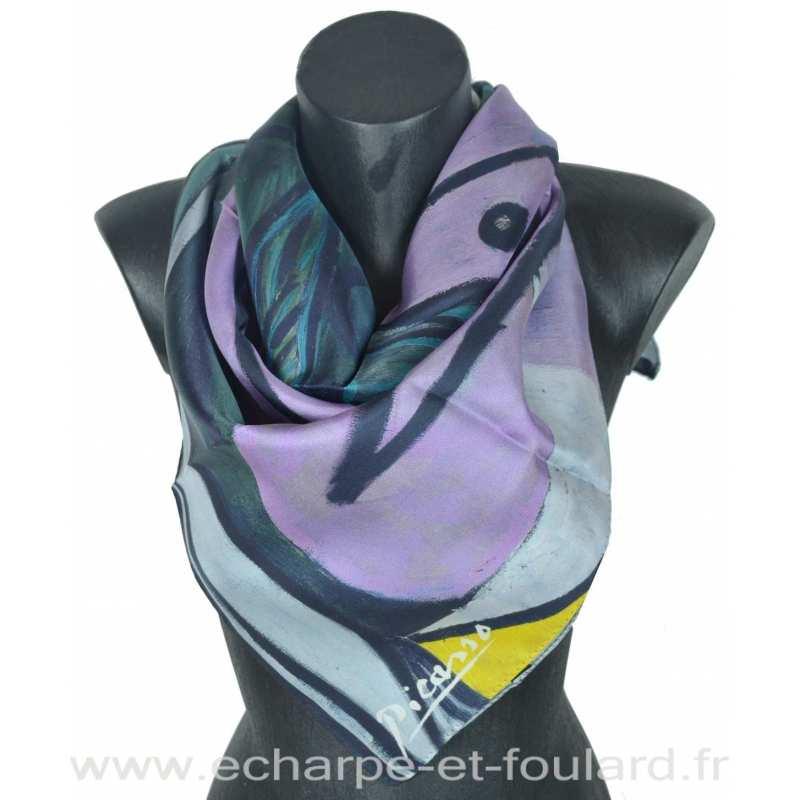 Foulard en soie Picasso, Nu au bouquet d'iris de au miroir