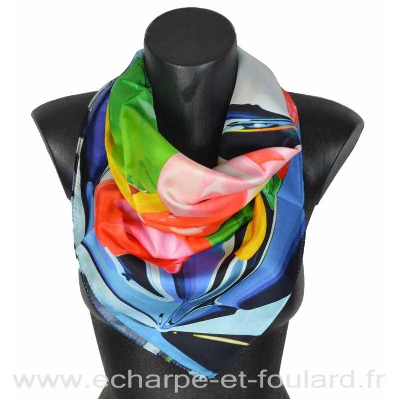 Foulard en soie Koons, Les tulipes
