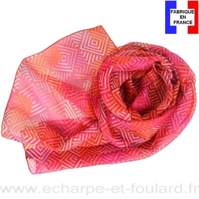 Foulard soie losanges rose fabriqué en France