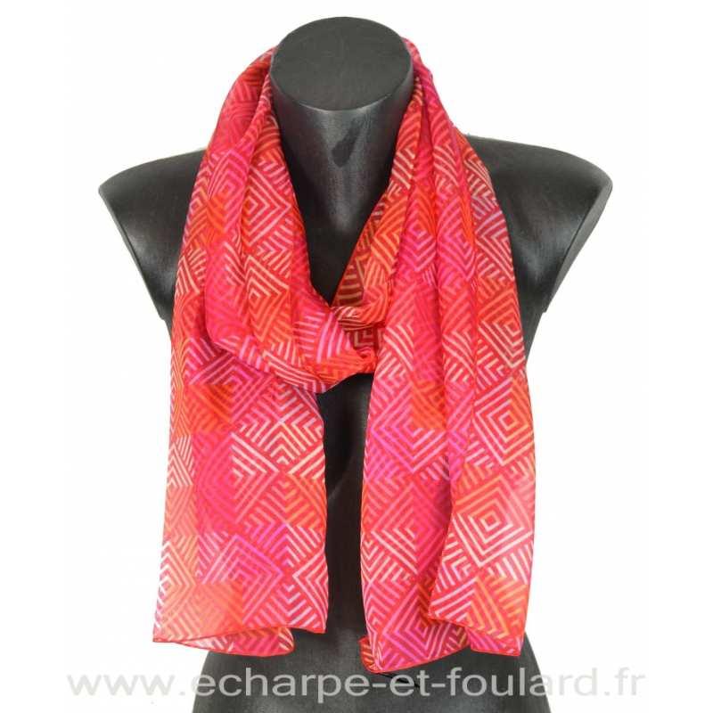 7068b2696486 Foulard soie losanges rose fabriqué en France