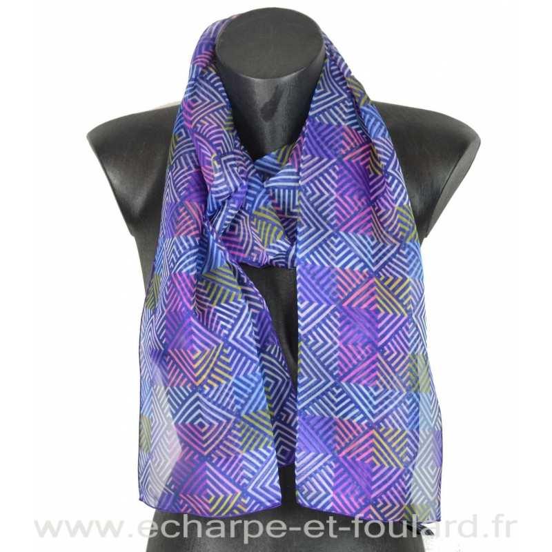 Foulard soie losanges violet fabriqué en France