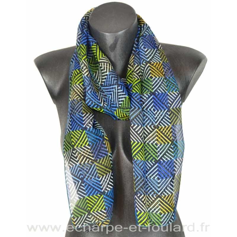 Foulard soie losanges bleu fabriqué en France