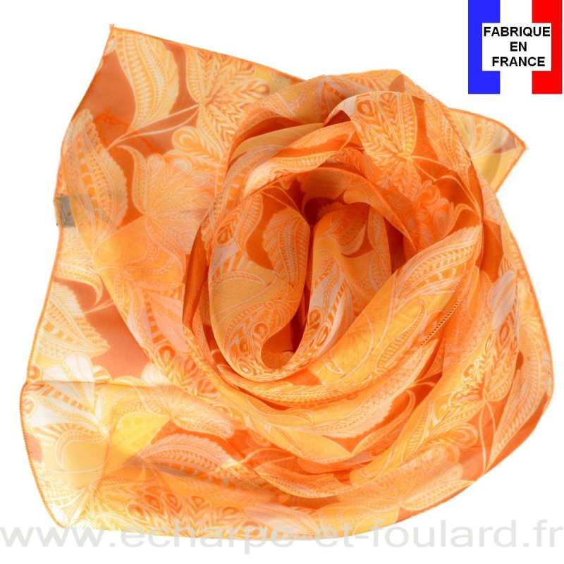 Foulard en soie palme orange made in France