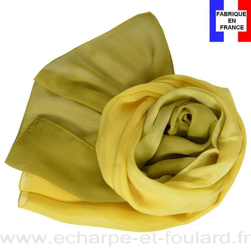 Foulard soie dégradé kaki fabriqué en France