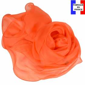 Foulard soie orange bords ondulés fabriqué en France